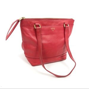 Fossil Shopper Red Leather Tote ZB6700 Women's